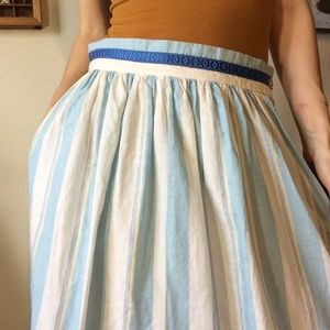 Vintage Skirts - Vintage Original Alphorn Cotton Blue Swiss Skirt